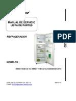 Refrigerador RAKD11 Manual Servicio