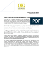 CP- Acuerdo entre OIG y la JIIP para fiscalizar cumplimiento de la Ley de Preferencia