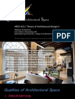 Arch413 - Qualities of Architectural Space (Plus Space Analysis Matrix - Term Project)