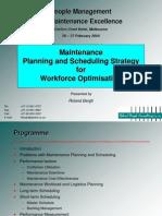 Maint Planning & Scheduling Strat for Workforce Optimisation
