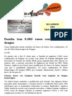 Paraíba tem 5.080 casos confirmados de dengue