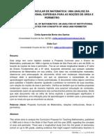 PROPOSTA CURRICULAR DE MATEMÁTICA UMA ANÁLISE DA RELAÇÃO INSTITUCIONAL ESPERADA PARA AS NOÇÕES DE ÁREA E PERÍMETRO
