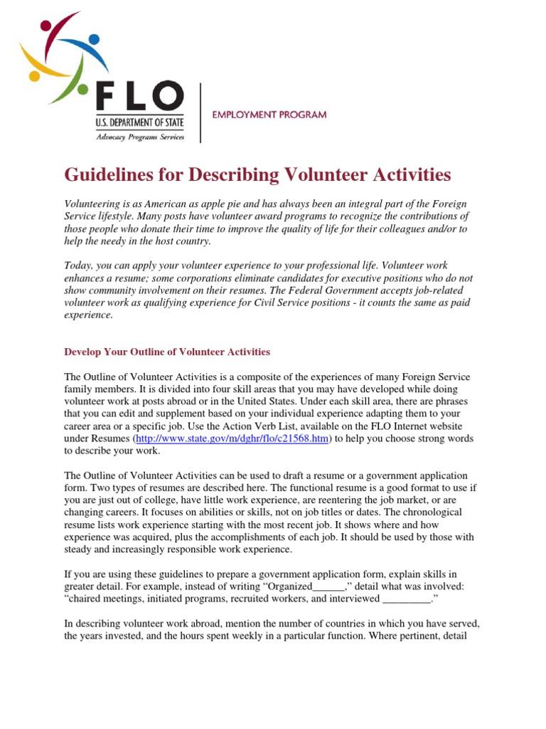 guidelines for describing volunteer activities volunteering