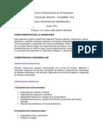 Programa Procesos de Separacion I