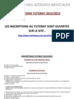 Modalités d'inscriptions tutorat 2012-2013
