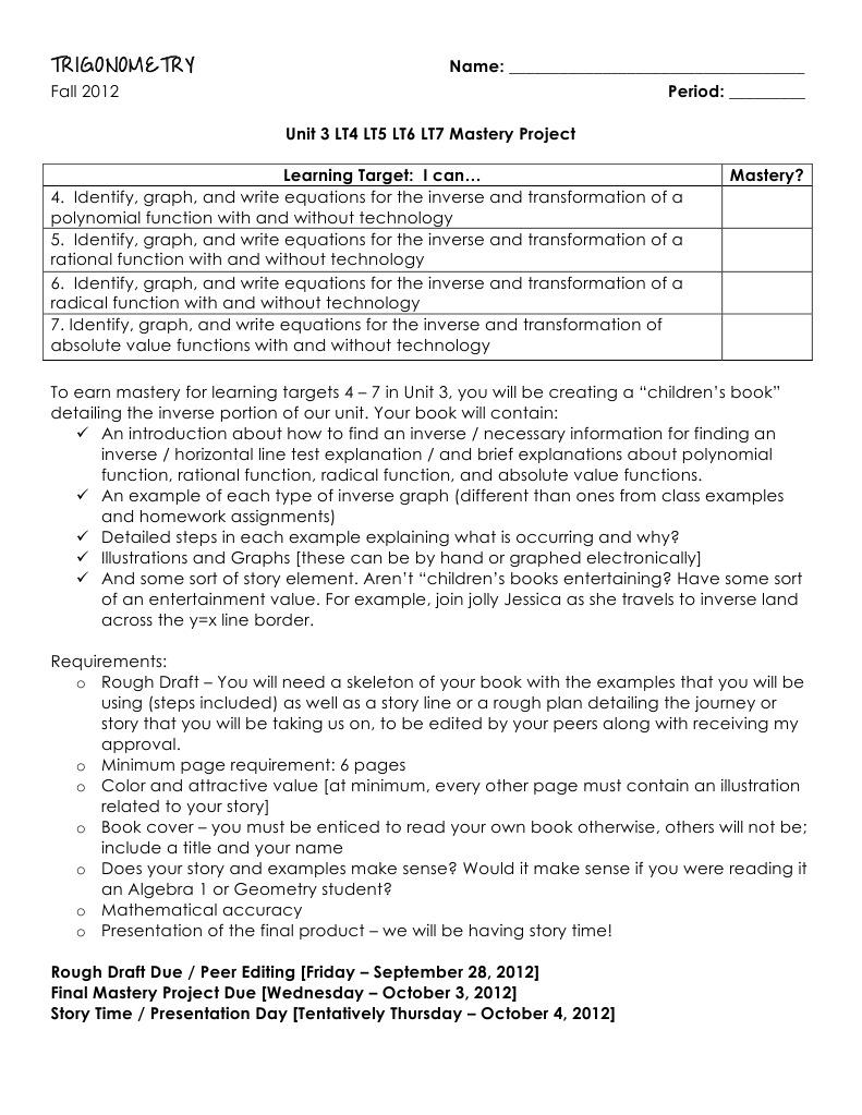 Trig Unit 3 LT4 LT5 LT6 LT7 Mastery Project | Function
