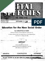 Vital Speeches-Ed for the New Social Order-Rudd-1948-8pgs-EDU