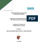 CARRERA DE TÉCNICO EN LABORATORISTA CLÍNICO MÓDULO IV REALIZAR PRUEBAS HEMATOLÓGICAS Y TRANSFUSIONALES