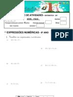 0001 BLOCO DE ATIVIDADES  - 5º ANO - EXPRESSÕES NUMERICAS