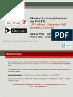 Observatoire de la performance des PME-ETI septembre - 19ème éd questions d'actu