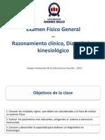Clase 4- Examen Fisico General, Razonamiento Clinico y Diagnostico Kinesico