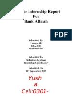 Nternship Report for Bank Alfalah