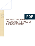 Information, Market Failure and the Role of the Government