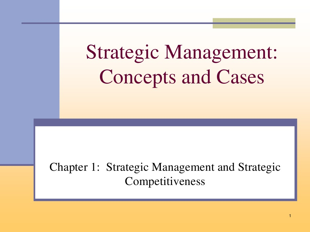 chap 4 sumary strategic management It is about analyzing the situation facing the firm, and on the basis of this analysis formulating a strategy and finally implementing that strategy the end result is achieving competitive advantage strategic management process includes: strategic analysis, strategy formulation, strategy implementation.