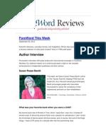 Susan Pease Banitt Interviewed in Foreword Reviews 9.20.12.