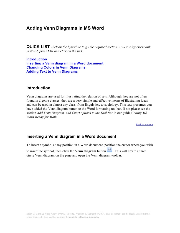 Adding Venn Diagrams In Ms Word Hyperlink Microsoft Word