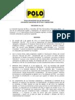 Decision 023_de La CNEG Sobre Reglamentacion Congreso y Exclusion Partido Comunista
