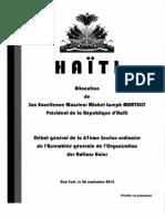 Allocution du President Martelly a la 67eme Session Ordinaire des Nations Unies - 9/26/2012