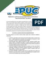 """Reglamento y condiciones para participar en la Feria del Estudiante """"Expo-Feria del Pollito"""" Ciclo 2012-II"""