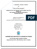 Format of Project Report 2012