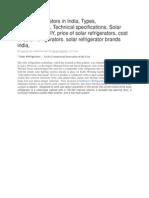 Solar Refrigerators in India