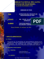 Estructura Del Proyecto de Investigacion de Tesis