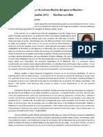 Chronique La vie extraordinaire des gens ordinaires/ sept 2012/ Martine Lavallée