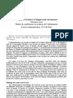 Langage d'écritures et langue orale sur internet