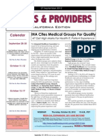 Payers & Providers California Edition – Issue of September 27, 2012