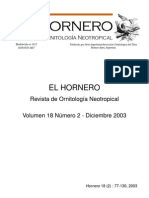 Revista El Hornero, Volumen 18, N° 2. 2003.