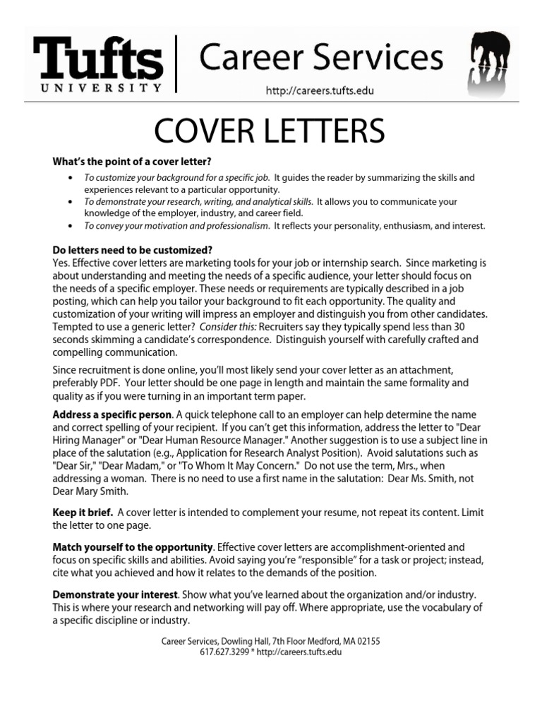 Sample Cover Letters From Tufts University Careers | Internship |  Psychology U0026 Cognitive Science