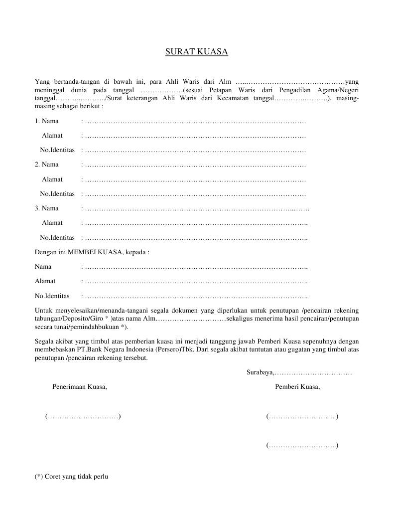 Surat Kuasa Ahliwaris Meninggal Contoh Bank Bni Pdf