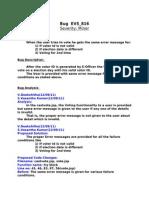 Bug EVS 816 Analysis and TestCases