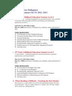 2012-2013 Year Round Seminars