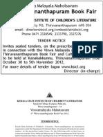 Thiruvanathapuram Bookfair 2012 Stall Tender Details