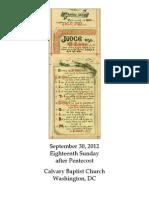 Bulletin, September 30, 2012