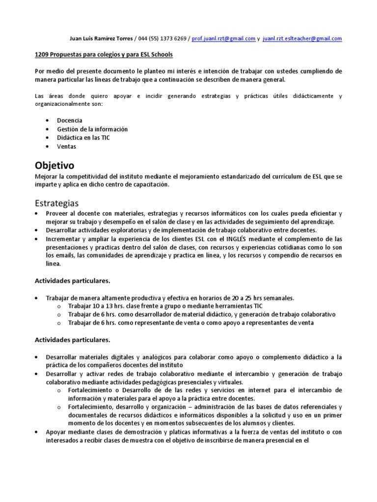 1209 Propuestas Para Colegios y Para ESL Schools