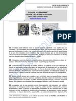 175. EL VALOR DE LAS PALABRAS. FILOSOFIA, EDUCACION, LITERATURA