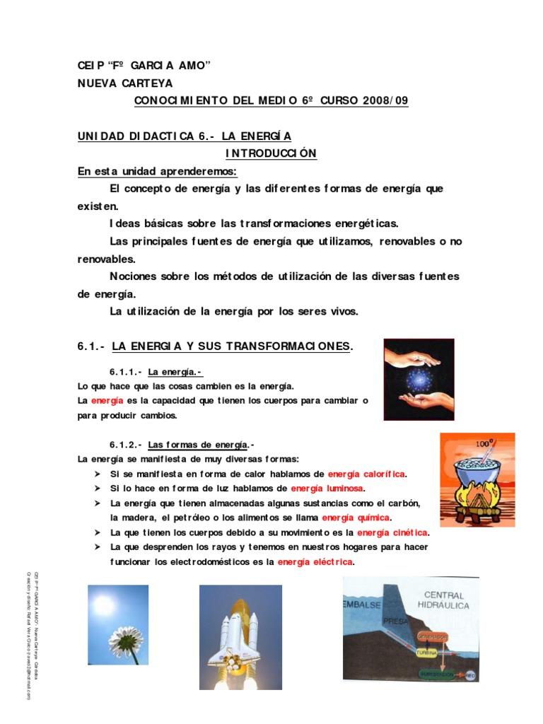 Tema 6 la energ a for Cuarto definicion