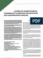 Análisis de las fallas en transformadores causadas por la operación del pararrayos ante sobretensiones externas