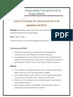 Acta de La Comision de Catequesis Del Lunes 10 de Septiembre Del 2012