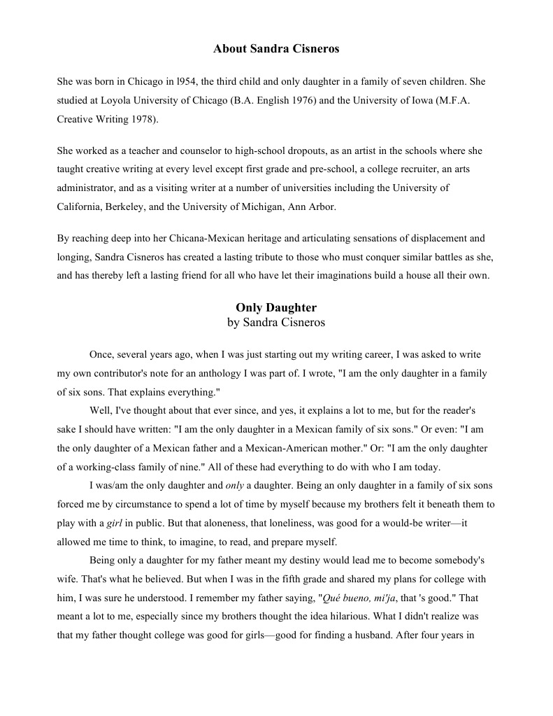 Sandra cisneros essay only daughter how to write historiographical review