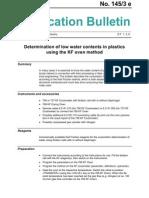 Determination of Low Water Contents in Plastics