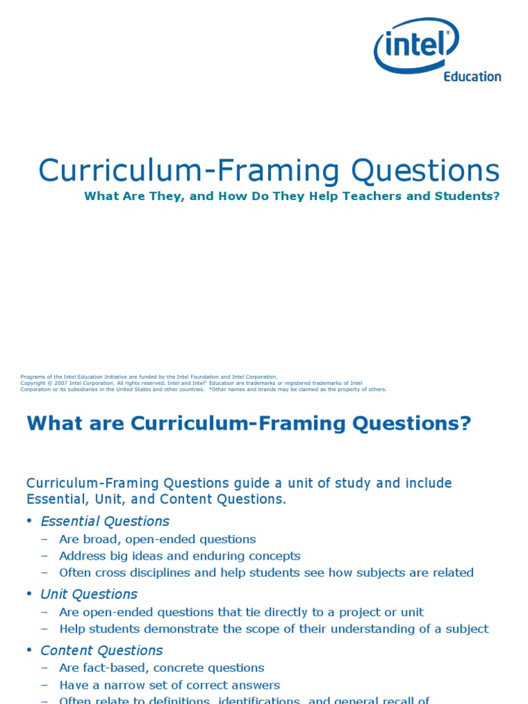 Curriculum Framing Questions | Trademark | Curriculum