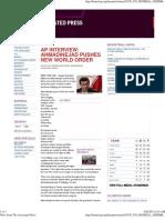 Ahmadinejad Pushes New World Order
