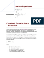 Stock Valuation Equations