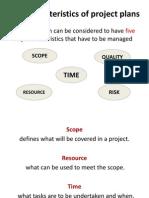 Project Plan Characteristics