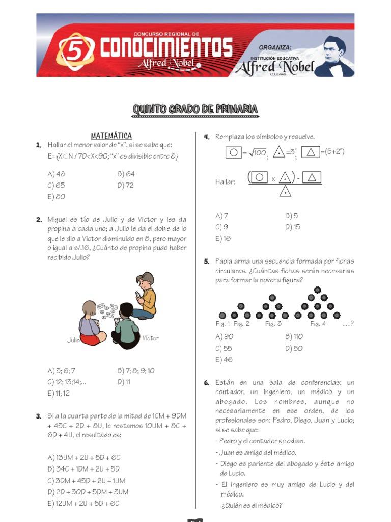 Examen Modelo IV Concurso Regional de Conocimientos Alfred ... - photo#48