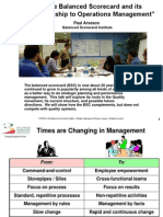 The Balanced Scorecard and Its Relationship to Operations Management