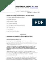 FOLLETO Unidad 2 Administracion General UNASUR